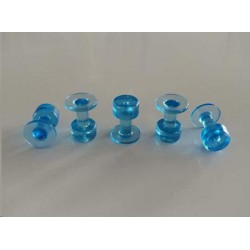 Clear Blue tab smooth rond 9mm (5st)